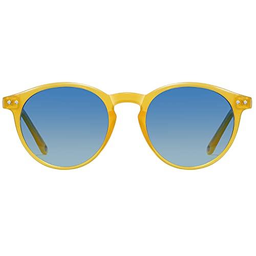 H HELMUT JUST Gafas de Sol para Hombre Mujer Redondas Vintage Polarizadas Amarillo Lente Azul TR90 y Acetato