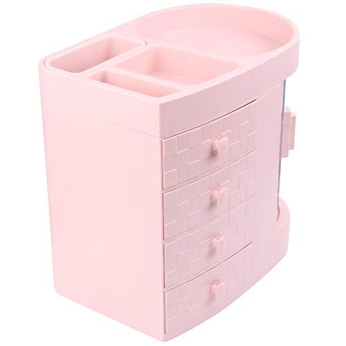 Cabilock Make-Up Organizer Kosmetik Aufbewahrungsboxen Acryl Make-Up Und Schmuck Aufbewahrungskoffer für Bad Arbeitsplatte (Rosa)
