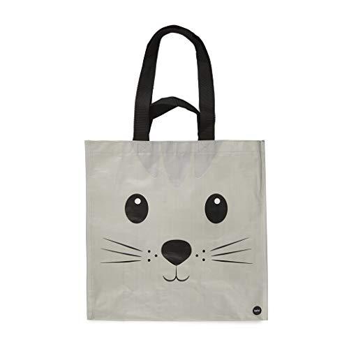 Balvi Bolsa Compra Kitty Color Gris con Bolsillo Interior y Dos tamaños de Asas Diseño de Gato Plástico Reciclado 40x40x20 cm