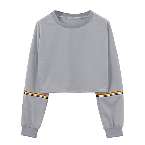 Boxinay Women's Casual Long Sleeve Striped Patchwork O-Neck Crop Top Pullover Sweatshirt Blouse Gray