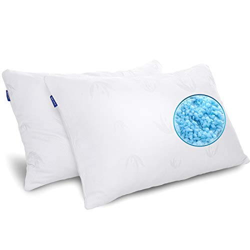 Shredded Memory Foam Pillows for Sleeping 2 Pack Bamboo Pillow with Adjustable Loft Cooling Gel Bed Pillows for Side and Back Sleepers Washable Removable Derived Rayon Cover (Queen)