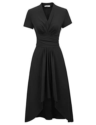 GRACE KARIN Retro Kleid Damen 50s Kleider lang v Ausschnitt Kleid schwarz Petticoat Kleid CL1073-1 M