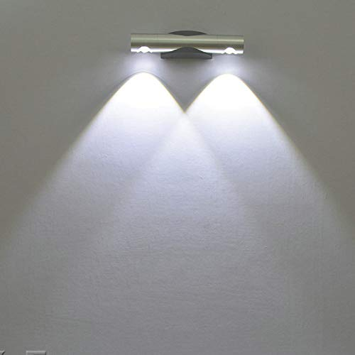 Wandleuchte led moderne doppelkopf drehen wandleuchte dreh nachttischlampe ganglichter dekorative lichter weißes licht zeichnung schwarz 6 watt