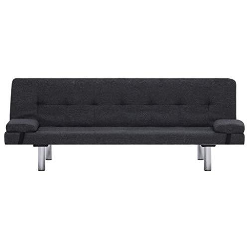 Lechnical Sofá Cama Gris Oscuro Revestido de poliéster, sofá Cama Familiar Estilo Moderno 168 x 77 x 66 cm (Largo x Ancho x Alto) -3 ángulos Ajustables Trae 2 Almohadas