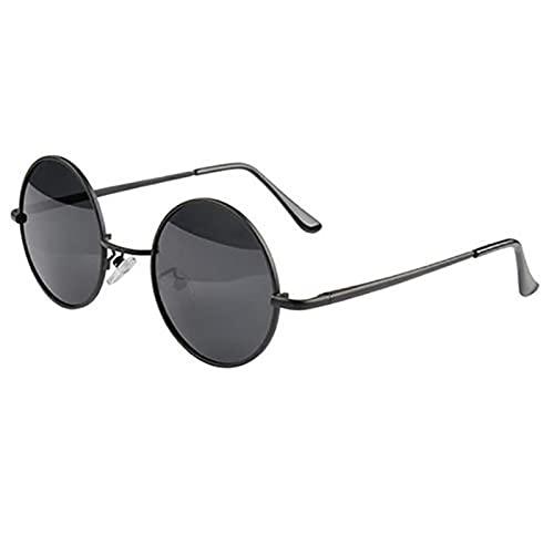 ZHOUSAN Retro redondo polarizado gafas de sol hombres mujeres vintage gafas de sol marco metal negro lente fiesta gafas conducción pesca UV400