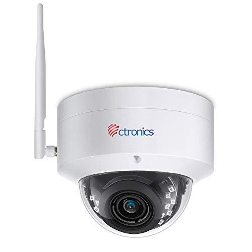 5MP Caméra Surveillance WiFi Ctronics Caméra IP Extérieure Intérieure Détection Humanoïde de Mouvement Large Angle 110° HD Vision Nocturne IP65 Imperméable Fente de Carte SD Onvif P2P (caméra Fixe)
