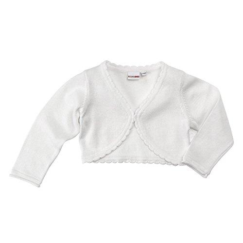 Bornino Strickbolero - kurze Strickjacke - Festliche Mode für Babys - Bolero mit Knopfverschluss & Wellenkante - vielseitig kombinierbar - weiß