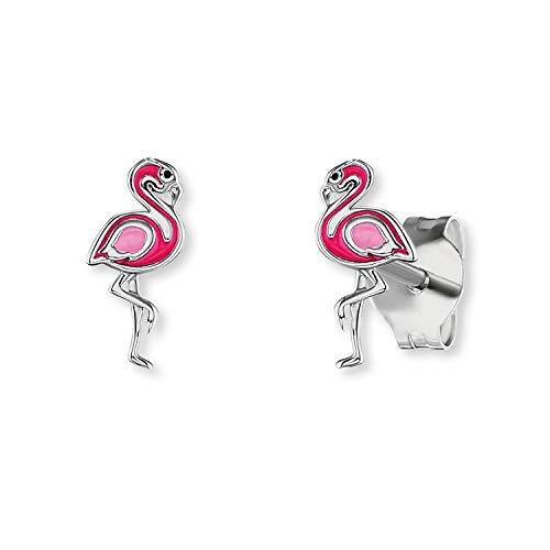 Herzengel - Flamingo Ohrstecker für Kinder, rosa Ohrringe aus rhodiniertem 925 Sterlingsilber & Emaille für Mädchen, Silberohrringe mit bunten süßen Details