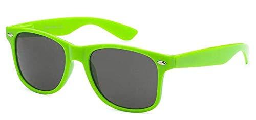 Boolavard® Nerd Sonnenbrille im Wayfarer Stil Retro Vintage Unisex Brille - 45 Modelle wählbar (Grüne Tönung)