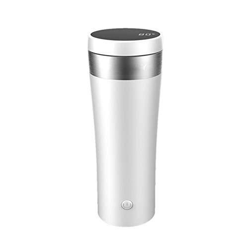 YFAX,Acero metálico, Botella de la coctelera de proteínas, coctelera de Polvo de proteína con contenedor, Temperatura de la Pantalla táctil LED, Taza de Mezcla de Temperatura -White