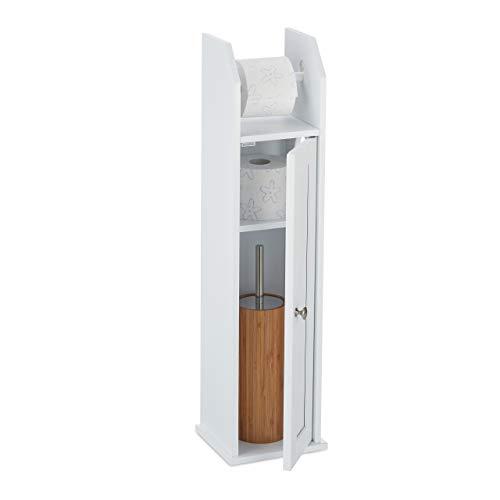 Relaxdays Toilettenpapierhalter stehend, schmal, für 5 Ersatzrollen, Bad Seitenschrank, MDF, HBT 78,5 x 20 x 18 cm, weiß