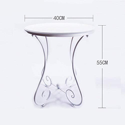 ZhuFengshop Tafel van smeedijzer van massief hout salontafel eenvoudig casual kleine tafel rond hoekbank café klaptafel bank