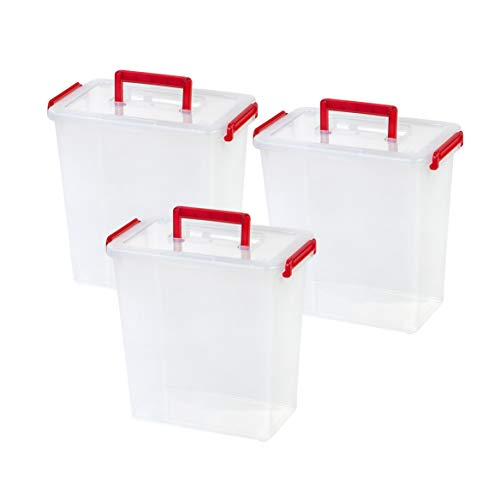 IRIS USA MLBH-290DD CLR/TR Cran Holiday Bow Box with Handle, 3 Pack, Clear/Red