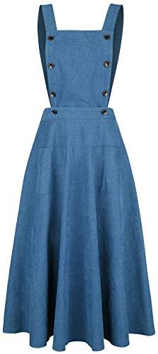 Banned Retro Book Smart Pinafore Mujer Vestidos de Longitud Media Azul M, 100% poliéster,