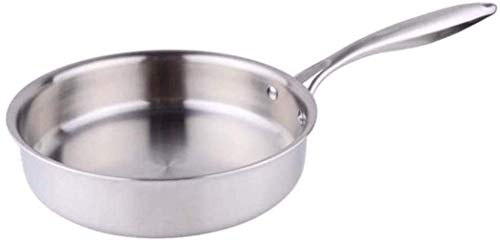 NYKK Flache Saucepans unten rauchlosen Nicht-Stock-Pan Edelstahl unbeschichteter Topf-Induktionkocher-Gas-Universal, 22cm lalay (Size : 22CM)