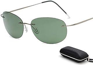 607f1250b6 Lindou con Estuche Polarized Titanium Silhouette Gafas de Sol Polaroid Gafas  Hombres Gafas de Sol Redondas