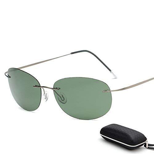Lindou con Estuche Polarized Titanium Silhouette Gafas de Sol Polaroid Gafas Hombres Gafas de Sol Redondas Gafas de Sol para Hombres