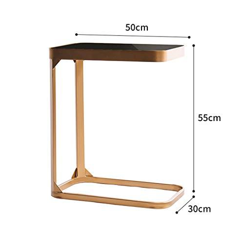 Marble Side Table For Kleine Salontafels, Metalen Frame, Bijzettafels, Oud-stijl Nachtkastjes Met Rekken, Kleine Nachtkastjes Sofa Tafels (Color : C-gold)