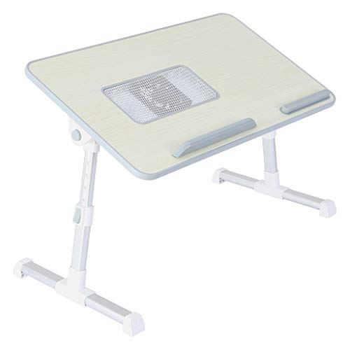 Folding Bed Table with Fan,shwuka Adjustable Lifting Lazy Small Table, Laptops Stand Lap Table for Bed or Couch, Computer Stand Writing Portable Desks, Bed Laptops Trays (silver)