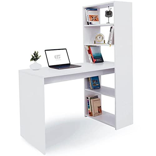 COMIFORT Escritorio Blanco con Estantería - Mesa Escritorio con Librería, Escritorio con Estante Moderno y Minimalista, 4 Baldas Espaciosas de Gran Capacidad, Mesa Escritorio Juvenil o Despacho