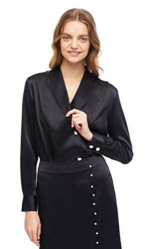 LilySilk Damen Seidenbluse Seidenhemd Schalkragen Damenbluse Langarm aus Seide Verpackung MEHRWEG Schwarz XXL