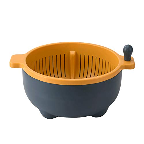 Strainers and Colanders Pasta Double-layer Rotatable Drain Basket with Handle Plastic Round Vegetable Basin Washable Fruits and Drained Noodles (Green/Grey) Colanders & Food Strainers ( Color : Gray )