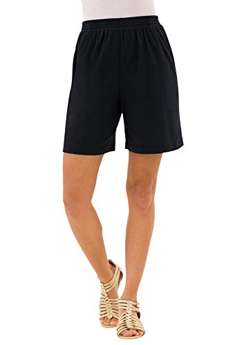 Roamans Women's Plus Size Soft Knit Short Pull On Elastic Waist - 1X, Black