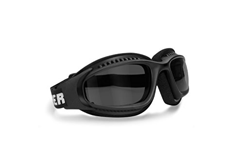 BERTONI Gafas Moto Antivaho Cordón Ajustable para Casco - Interior Acolchado AF113 Negro Opaco (Lente Oscura)