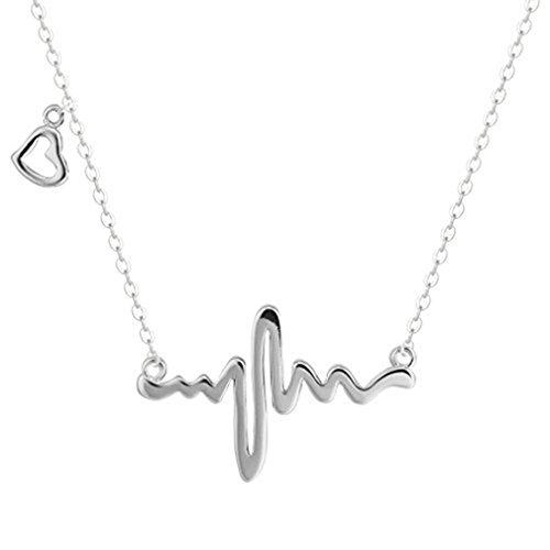 Collar de gargantilla de plata de ley 925 con motivo de latido de corazón de la marca Silver Phantom Jewelry