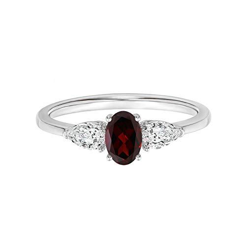 Shine Jewel 3.00 Ctw Oval Cut Garnet Gemstone 925 Anillo apilable de racimo de Boda para Mujer (21)