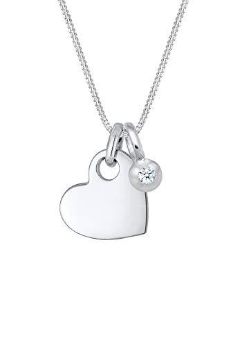 Elli PREMIUM Halskette Damen Herz Solitär mit Diamant (0.03 ct.) in 925 Sterling Silber