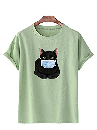 Hombres Manga Corta Verano Casual Cuello Redondo Creativo Hombres Streetwear Gato Impresión 3D Loose Wicking Transpirable Hombres Shirt Deportiva Fiesta Hombres Camiseta K-Green 2 L