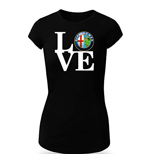 Alfa Romeo Love T-Shirt Clipart Women CAR Logo Auto Tee TOP Black White Short Sleeves (M, Black)