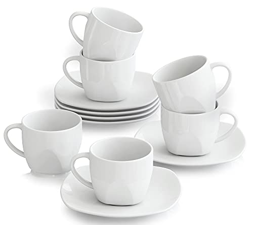 MALACASA, Series Elisa, 12 Piezas Juegos de Cafe de Porcelana 6 Tazas y 6 Platillos servicios de cafe para 6 Personas