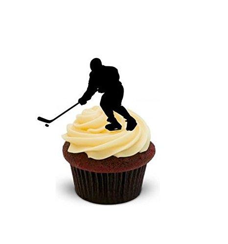 Eishockey Spieler Silhouette - 12 essbare hochwertige stehende Kuchen Toppers - Ice Hockey Player Silhouette