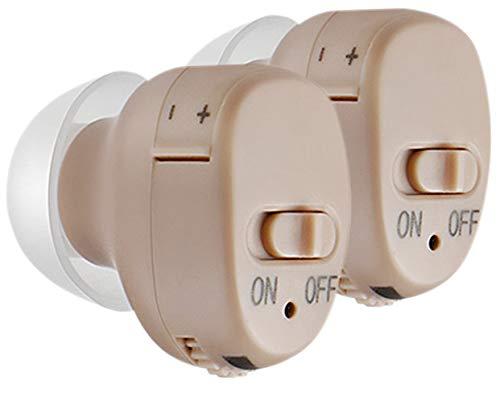 newgen medicals Mini ITE Hörverstärker: Bügellose ITE-Hörverstärker mit Batterie-Betrieb, 2er-Set (Hörhilfe für Senioren)