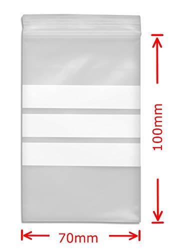 WeltiesSmartTools Premium Druckverschlussbeutel mit Stempelfeld 90µ 70x100mm 100 Stück - 3 weiße Beschriftungsstreifen - 11 verschiedene Größen zur Auswahl