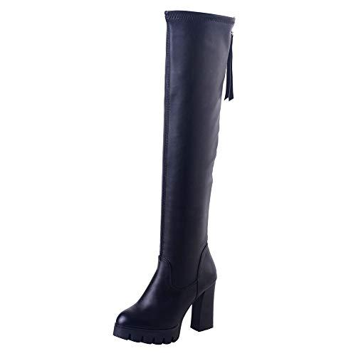ZARLLE_Botas Botines de Mujer Zapatos Mujer Zapatos tacón Ancho Mujer Botines Mujer Negros Botas De Tacón Botas OtoñO Invierno Boots Botas Estiletes por Encima Rodilla Alto Botas