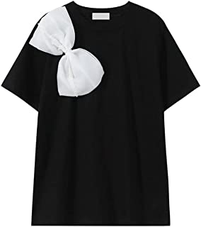 Wxcgbdx Womens T Shirts, White Bow Design Women's T-Shirt Summer Fashion Casual O-neck Solid Color Pure Black Blouse