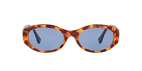 Ralph by Ralph Lauren Gafas de sol ovaladas Ra5278 para mujer, Shiny Sponged Havana/Light Blue,