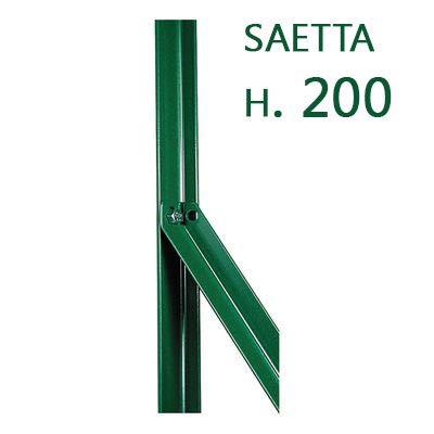 10PZ Saetta di sostegno Paletto a T per recinzioni da GIARDINO recinzione in ferro PLASTIFICATO a L mm 25x25x3 H 200 CM VERDE