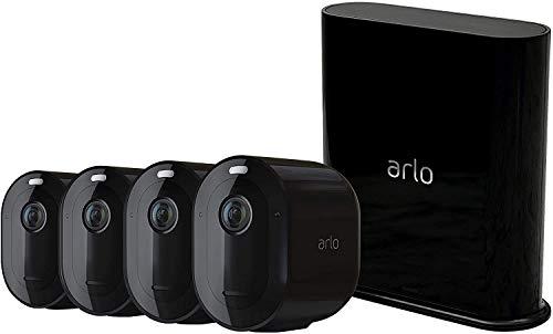 Arlo Pro3 WLAN Überwachungskamera & Alarmanlage, 2K UHD, 4er Set, kabellos, Innen / Aussen, Bewegungsmelder, Farbnachtsicht, Smart Home, 160° Blickwinkel, 2-Wege Audio, Spotlight, VMS4440B, Schwarz
