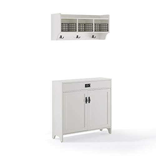 Crosley Fremont 2Pc Entryway Set Distressed White - Accent Cabinet, Shelf