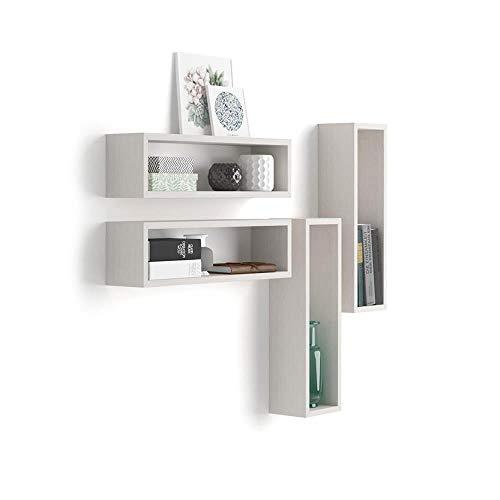 Mobili Fiver, Set di 4 Cubi da Parete Iacopo, Frassino Bianco, 59 x 14,5 x 17 cm, Nobilitato, Made in Italy, Disponibile in Vari Colori