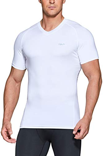 Athletic Workout Shirt Active Outdoor Base Layer T-Shirts TSLA Mens Tactical Cool Dry Short Sleeve Compression Shirts