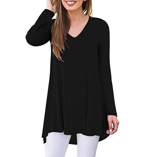 AUSELILY Camiseta de Manga Larga con Cuello en v para Mujer Túnica Tops Blusa Camisas.(EU 40-42,Negro)