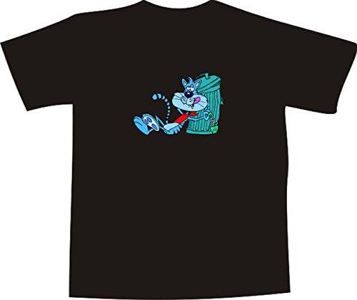 Black Dragon - T-Shirt E656 - Farbe nach Wahl - Größe M - Logo - Grafik - Comic Design - betrunkener Kater mit Fischgräte an Mülltonne - Funshirt Mann Frau Party Fasching Geschenk Arbeit - Bedruckt