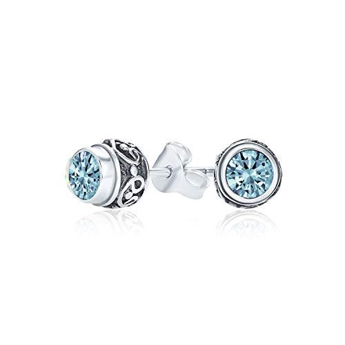 Estilo de Bali pequeña redonda piedra preciosa azul topacio pendientes para las mujeres oxidado 925 plata esterlina diciembre piedra de nacimiento