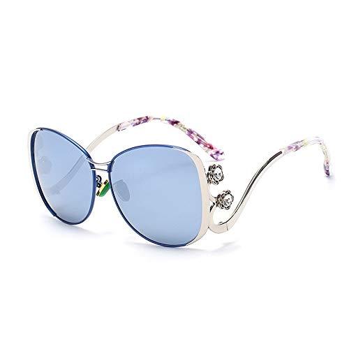 Faus Koco UV400 Moda Gafas De Sol Coloridas Señoras De Película De Color Espejo De Rana Marco Grande Placa Hechos A Mano (Color : Silver)