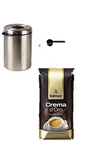 James Premium® liefert Kaffeedose für 1kg Kaffeebohnen, Tee, Kakao, mit Aromaverschluss, Edelstahldose, silber + Dallmayr Crema d'oro mild und fein in Bohne, 1er Pack (1 x 1000 g Beutel)
